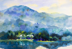 Paisagem da pintura colorida da montanha, das lagoas e da casa na manhã ilustração royalty free