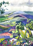 Paisagem da pintura da aguarela Fotos de Stock