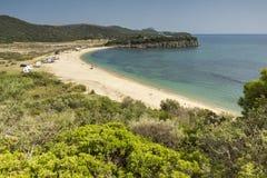 Paisagem da praia de Azapiko, Chalkidiki, Sithonia, Macedônia central Fotografia de Stock