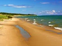 Paisagem da praia do Lago Michigan Foto de Stock Royalty Free
