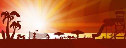 Paisagem da praia do verão ilustração royalty free