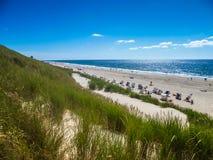 Paisagem da praia na ilha de Sylt Fotos de Stock Royalty Free