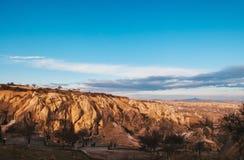 Paisagem da rocha vulcânica no museu do ar livre de Goreme na manhã, Ca fotos de stock