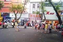 Paisagem da rua, rua comercial em Xixiang, Shenzhen Imagem de Stock