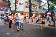 Paisagem da rua, rua comercial em Xixiang, Shenzhen Foto de Stock Royalty Free