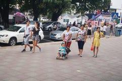 Paisagem da rua, rua comercial em Xixiang, Shenzhen Foto de Stock