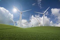 Paisagem da turbina de vento Fotografia de Stock Royalty Free
