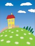 Paisagem da vila dos desenhos animados do vetor Fotografia de Stock Royalty Free