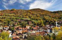 Paisagem da vila no outono fotografia de stock