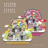 Paisagem das cidades de irmã Foto de Stock Royalty Free