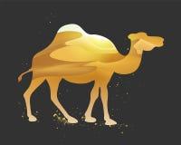 Paisagem das dunas do deserto dentro de uma silhueta do camelo Foto de Stock