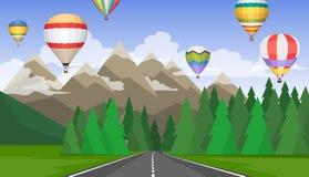 A paisagem das florestas, das montanhas, das estradas e dos balões de ar quente Fotos de Stock Royalty Free