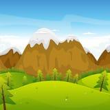 Paisagem das montanhas dos desenhos animados Fotos de Stock
