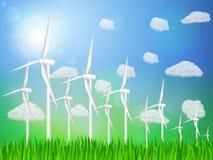Paisagem das turbinas de vento ilustração stock