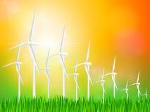 Paisagem das turbinas eólicas ilustração do vetor