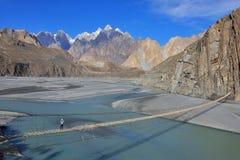 Paisagem de Beuatiful de Paquistão do norte Região de Passu Montanhas de Karakorum em Paquistão foto de stock royalty free