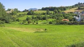 Paisagem de Cantábria com campo e uma vila pequena Fotos de Stock Royalty Free