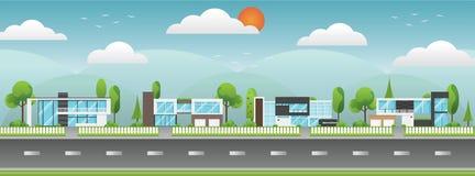 Paisagem de casas modernas com árvore, nuvens e ao longo das estradas Fotografia de Stock Royalty Free