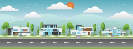 Paisagem de casas modernas com árvore, nuvens e ao longo das estradas Fotos de Stock