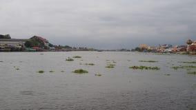 Paisagem de Chao Phraya River e da construção e nebuloso Imagens de Stock