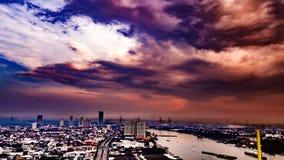 Paisagem de Chao Praya River Fotos de Stock Royalty Free