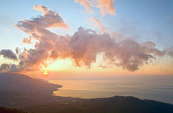 Paisagem de Crimeia da aurora Fotografia de Stock Royalty Free