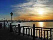 Paisagem de Dandong o Rio Yalu Foto de Stock Royalty Free