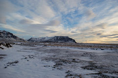 Paisagem de Iclandic em um dia de inverno ensolarado Foto de Stock Royalty Free