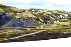 Paisagem de Landmannalaugar no verão imagens de stock