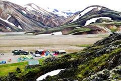 Paisagem de Landmannalaugar no verão de Islândia fotos de stock