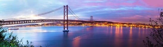 Paisagem de Lisboa no por do sol Imagens de Stock Royalty Free