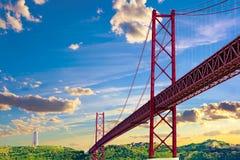 Paisagem de Lisboa no por do sol Imagem de Stock Royalty Free