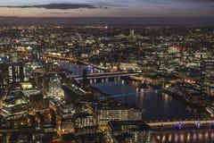 Paisagem de Londres na noite Fotografia de Stock