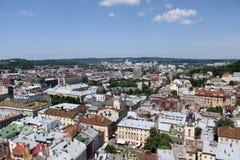 Paisagem de Lviv com um horizonte Fotografia de Stock Royalty Free