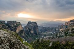 Paisagem de Meteora, em Grécia foto de stock