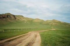 Paisagem de Mongólia: estrada verde desertic Fotografia de Stock Royalty Free