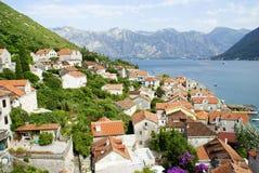 Paisagem de Montenegro, Perast imagem de stock