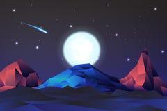 Paisagem de néon da montanha das noites com fullmon, vetor, ilustração ilustração do vetor