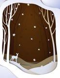 Paisagem de papel da floresta do outono com cervos novos, fundo de papel do conto de fadas de outubro com bambi, ilustração royalty free