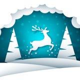 Paisagem de papel dos desenhos animados Feliz Natal, ano novo feliz ilustração do vetor