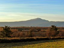 Paisagem de Provancal com Mont Ventoux e campos no por do sol no inverno, Provence do lavander, França do sul, Europa fotografia de stock royalty free