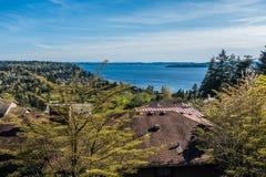Paisagem de Puget Sound na mola imagens de stock