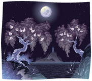 Paisagem de Romanitc no mar na noite. Imagens de Stock Royalty Free