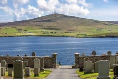 Paisagem de Shetland com cemitério Fotografia de Stock Royalty Free