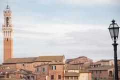Paisagem de Siena com a torre de Mangia Fotos de Stock Royalty Free