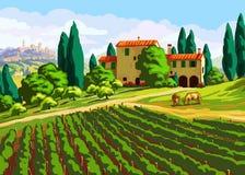 Paisagem de Tuscan com casa de campo ilustração royalty free