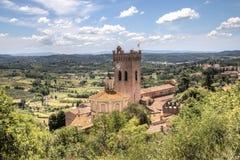Paisagem de Tuscan com a catedral em San Miniato, Itália Fotografia de Stock Royalty Free
