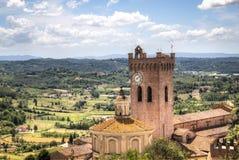 Paisagem de Tuscan com a catedral em San Miniato, Itália Foto de Stock Royalty Free