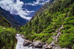 Paisagem de um rio da montanha com natureza tradicional de Kullu v Imagem de Stock Royalty Free