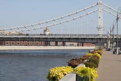 Paisagem de uma ponte de suspensão fotografia de stock royalty free